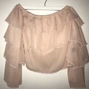 Pale Pink Ruffle OTS Top
